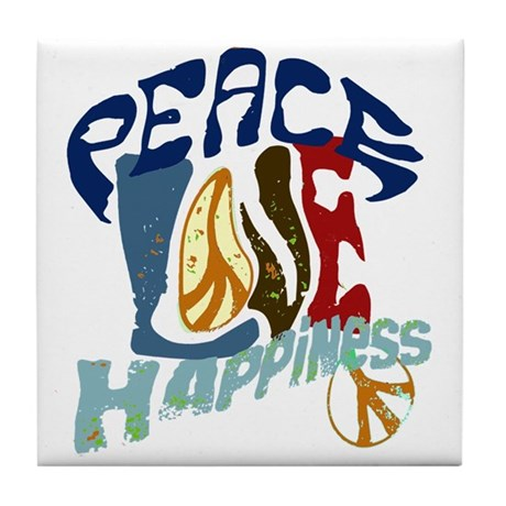Peace Love and Happiness #P2 Tile Coaster