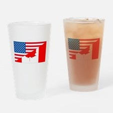 USA Canada Flag Drinking Glass