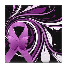 Pink Awareness Ribbon Tile Coaster