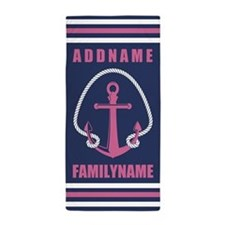 Navy and Pink Anchor Rope Personalized Beach Towel