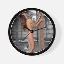 Beautiful Nude Brunette in an Abandoned Wall Clock