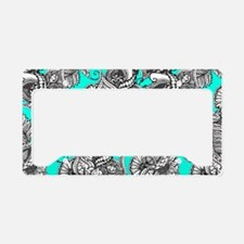 Boho black white hand drawn f License Plate Holder