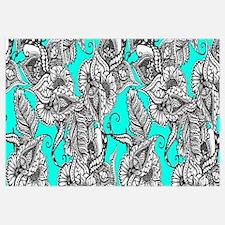 Boho black white hand drawn floral doodles pattern
