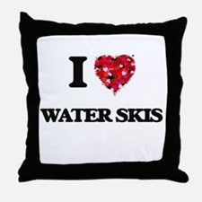 I love Water Skis Throw Pillow