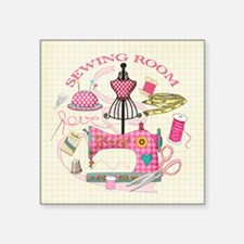 """Sewing Square Sticker 3"""" X 3"""""""