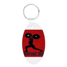 pumping_iron_10by10_red Keychains