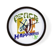 Peace Love Happiness #P6 Wall Clock