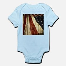 wood grain USA American flag Body Suit