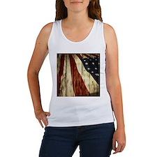 wood grain USA American flag Tank Top