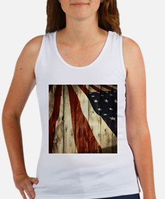 wood grain USA American flag Tank Top