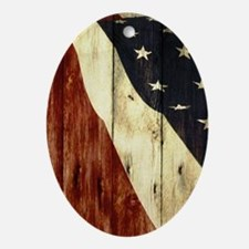 wood grain USA American flag Ornament (Oval)