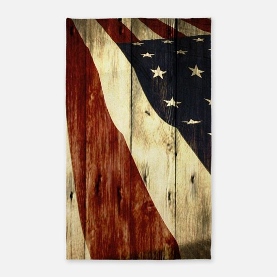 wood grain USA American flag Area Rug