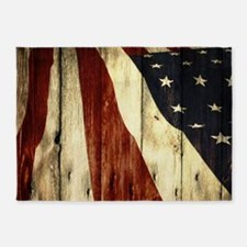wood grain USA American flag 5'x7'Area Rug