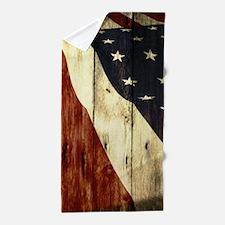 wood grain USA American flag Beach Towel