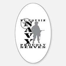 Cousin Proudly Serves - NAVY Oval Decal