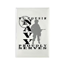 Cousin Proudly Serves - NAVY Rectangle Magnet