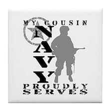 Cousin Proudly Serves - NAVY Tile Coaster
