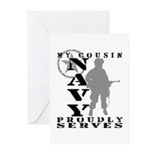 Cousin Proudly Serves - NAVY Greeting Cards (Pk of