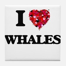 I love Whales Tile Coaster