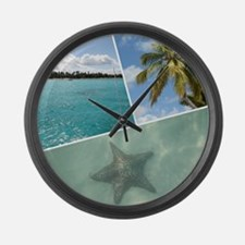 Caribbean Collage Large Wall Clock