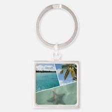 Caribbean Collage Square Keychain