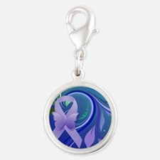 Purple Awareness Ribbon Silver Round Charm