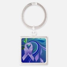 Purple Awareness Ribbon Square Keychain