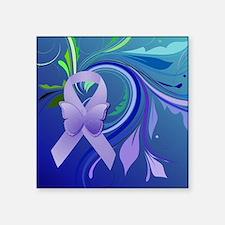 "Purple Awareness Ribbon Square Sticker 3"" x 3"""