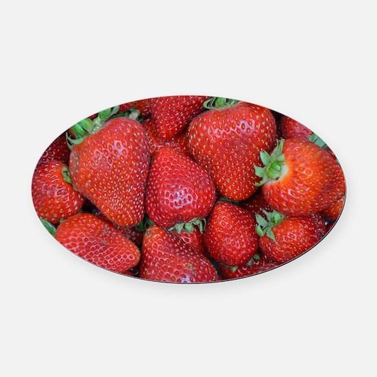 Cute Strawberries Oval Car Magnet