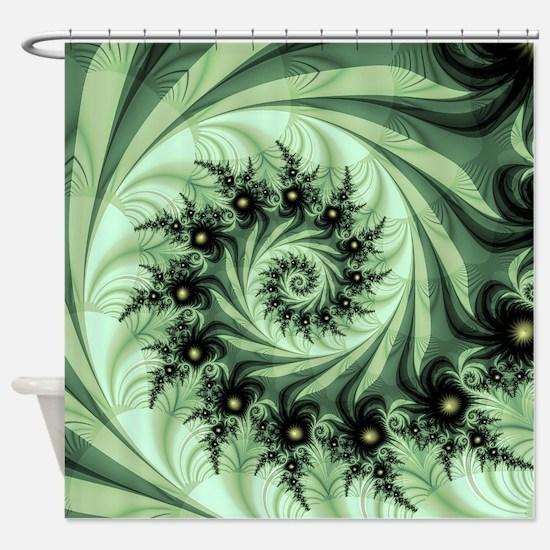 Green spiral Shower Curtain