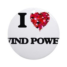 I love Wind Power Ornament (Round)