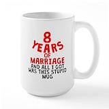 8th wedding anniversary Large Mugs (15 oz)