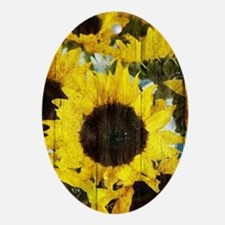 western country yellow sunflower Ornament (Oval)