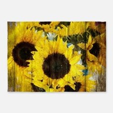 western country yellow sunflower 5'x7'Area Rug