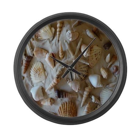 Beautiful seashells large wall clock by hopeshappyhome for Seashell clock