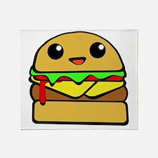 kawaii cheeseburger  Throw Blanket