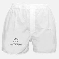 Keep calm by escaping to Umpqua Beach Boxer Shorts