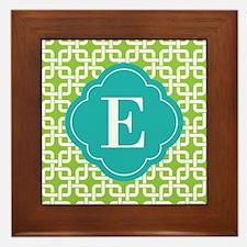 Monogrammed Lime Green Square Patttern Framed Tile