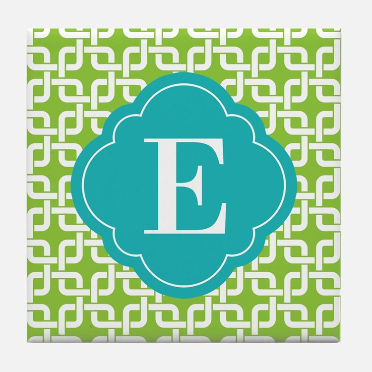 Monogrammed Lime Green Square Patttern Tile Coaste