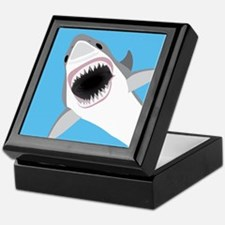 Great White Shark Leaps from Water Keepsake Box