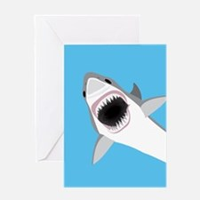 Great White Shark Leaps from Water Greeting Cards