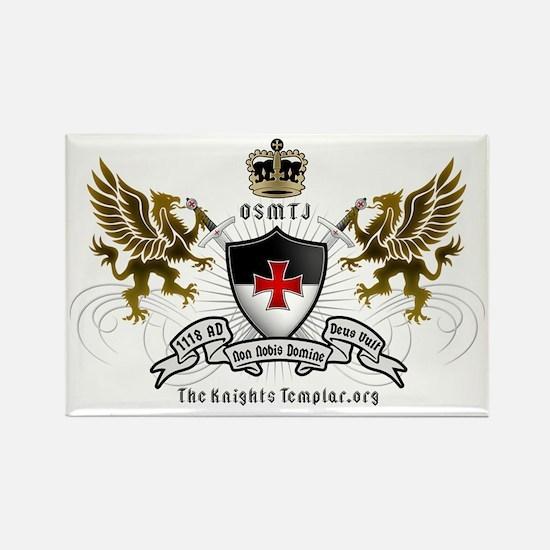 OSMTJ Templar Logo White Rectangle Magnet