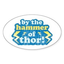 By the Hammer of Thor Oval Decal