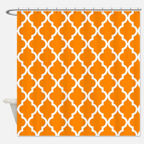 Orange: Quatrefoil Moroccan Pattern Shower Curtain
