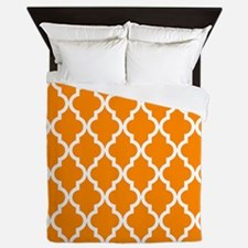 Orange: Quatrefoil Moroccan Pattern Queen Duvet