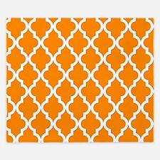 Orange: Quatrefoil Moroccan Pattern King Duvet