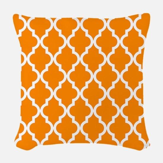 Orange: Quatrefoil Moroccan Pa Woven Throw Pillow