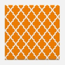 Orange: Quatrefoil Moroccan Pattern Tile Coaster