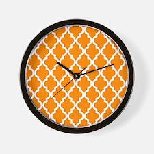 Orange: Quatrefoil Moroccan Pattern Wall Clock