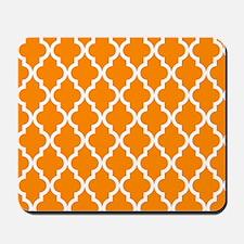Orange: Quatrefoil Moroccan Pattern Mousepad